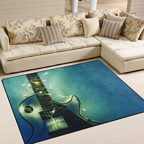 INGBAGS Teppich, E-Gitarren-Motiv, besonders weich, ideal als Wohn-, Schlafzimmer- und Spielteppich, dekoratives Wohnaccessoire, 1,60 m x 1,22 m, multi, 80 x 58 Inch