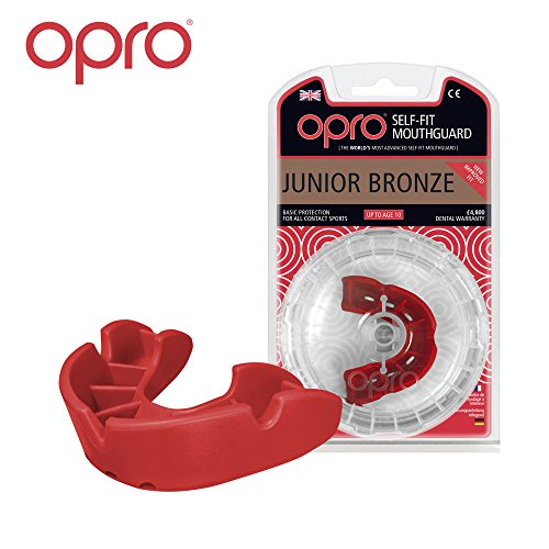 OPRO Junior Bronze Level Mouthguard for Ball, Stick and Combat Sports - 18 Month Dental Warranty (Red)