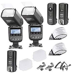 Neewer? Advanced Wireless Licht i-TTL-Flash Blitz Blitzger?t mit Wireless Slave Funktion Set f¨¹r Nikon D3, D3X, D4, D4S, D90, D300, D300S, D600, D610, D700, D800, D800E, D3000, D3100, D3200, D3300, D5000, D5100, D5200, D5300, D7000, D7100- Kamera- beinhaltet: 2 Neewer Auto-Focus I-TTL Blitz + 2.4 GHz Wireless Funk Ausl?ser(1 Sender, 2 Empf?nger) + 2 Kabel (M-Kabel + B-Kabel Kabel) + 2 Hard & Weich Blitz-Diffusor + 2 Objektivdeckelhalter