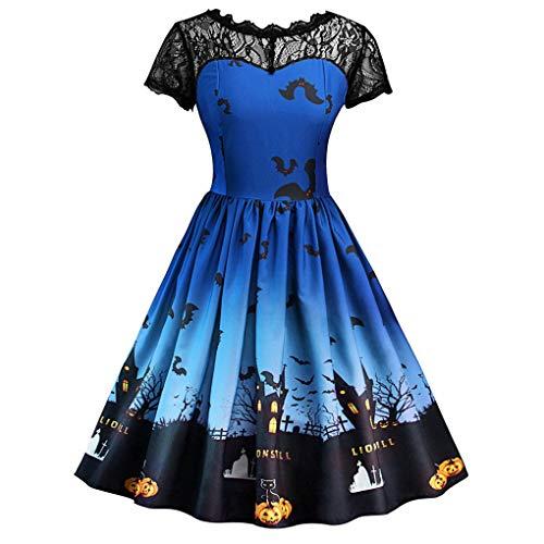 Dorical Damen Vintage Lace Ärmellos Kleid Eine Linie Kürbis Schaukel Party Clubbing Karneval eleganten Rock Kleid für Happy Halloween