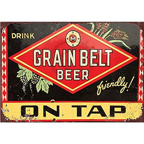 NNGT Retro Painting Antique Iron Poster Bar Pub Wall Art - Grain Belt Beer Metal TIN Sign 20X30 cm Grain Full Metal