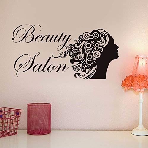 Dalxsh Wandaufkleber Kunst Wandbilder Schönheitssalon Mode Barbershop Frisur Frau Kopf Pvc KlebstoffAushöhlen WohnkulturWohnzimmer29X55 Cm