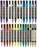 Paquete de rotuladores de varios colores con punta redonda ultrafina de 1,5mm, pueden utilizarse sobre cualquier superficie de vidrio, metal, madera, tela o plástico (1 unidad de cada color, 27 rotuladores), de Uni Posca PC-3M
