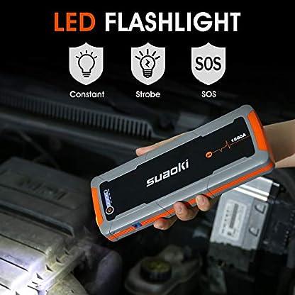 SUAOKI E15 Arrancador de Coches 1500A, 20000mAh (para Todo vehículo de Gas y Diesel de 6.5L), 12V Arrancador de batería portátil, QC3.0, Carga rápida, Linterna LED y Abrazadera Inteligentes