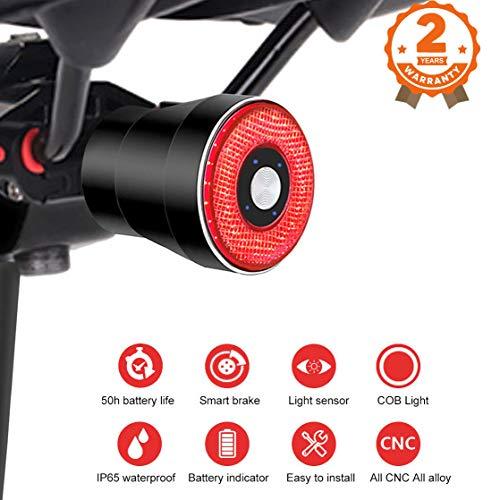 Intelligente bici Fanale posteriore,USB ricaricabile della luce della bici impermeabile luce della coda luminosa eccellente della bicicletta,3 modalità,400mAh batteria,indicatore di potere per la Luc