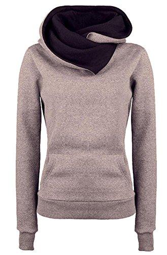 Donna Autunno Jumper Pullover Sweatshirt di Colore Solido Hoodie Felpa Maglie a Manica Lunga Felpe Con Cappuccio Top Cachi