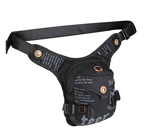 Genda 2Archer Stylish Oberschenkel Beintasche Nylon Taille Tasche für Sport Wandern Klettern Radfahren (DunkelBlau) Schwarz