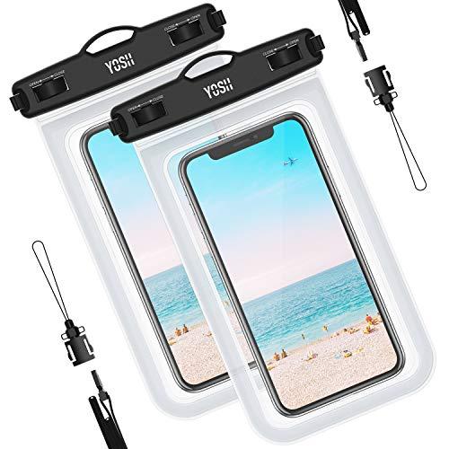 YOSH wasserdichte Handyhülle Tasche Beutel (2 Stück)schnorcheln schwimmen unterwasser für Samsung S9 S8 S7 S6 A5 A7 für iPhone 11 Pro XR X 8 7 6 6s Plus Lumia Huawei, bis zu 6.5 Zoll