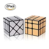 Roxenda Speed Cube Set Magic Cube Set of Gold Mirror S Cube and Silver Windmirror Cube , Irregular Speedcubing 3x3x3 Speed Cube Twisty Box Puzzle