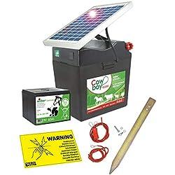 Eider Appareil pour clôture électrique Solaire 10045-00S Cowboy B 5000 avec Panneau Solaire 5 Watts et Batterie