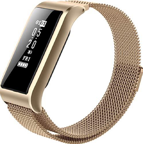 WSJ Bluetooth-Farbdisplay-Armband, Herzfrequenzmessung, Sport, wasserdicht, Handy-Erinnerung, Blutdrucktest und andere Multifunktionsuhren,Gold 905 Bluetooth