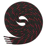 Di Ficchiano runde SCHNÜRSENKEL für Arbeitsschuhe und Trekkingschuhe - sehr reißfest - ca. 4,5 mm Durchmesser, Polyester schwarz/rot 170cm