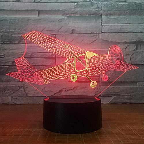 3D Aéronef Avion Lampe Illusion Optique LED Veilleuse Optiques Illusions Lampe de Nuit 7 Couleurs Tactile Lampe de Chevet Chambre Table Art Déco Enfant Lumière de Nuit avec Cable USB