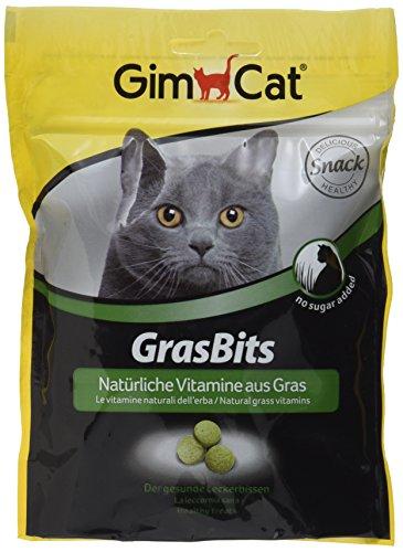 GimCat GrasBits | mit natürlichen Vitaminen und Nährstoffen aus getrocknetem Gras | ohne Zuckerzusatz | 1 Beutel (1 x 140 g)