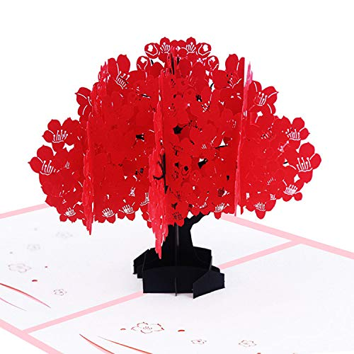 Kapok Pop-Up-Karte, 3D-Karte, Baum, Naturkarte, Laub, Geburtstagskarte, Valentinstag rot