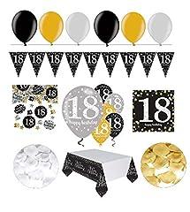 Idea Regalo - Decorazione FesteFeiern® completa per il 18°.Set di decorazione completo per il 18°compleanno, 31pezzi di colore oro, nero e argento, con palloncini.