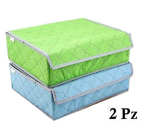 Ducomi® sevenbox - set di 2 organizer in stoffa pieghevole a 7 scomparti con bordi rigidi per cassetti ed armadi (mixed colors)
