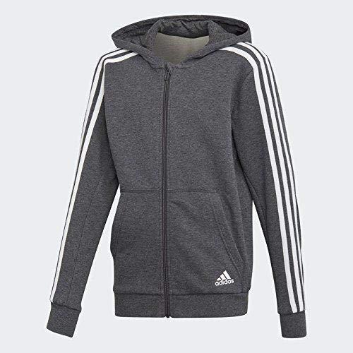 adidas Jungen 3 Stripes Full Zip Hood Kapuzen-Jacke, Dark Grey Heather/White, 140 Fleece Full Zip Hood