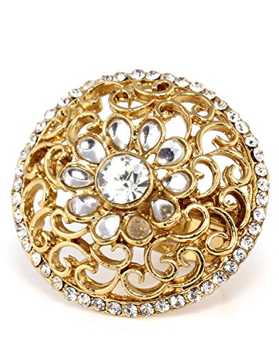 Bindhani Traditional & Ethnic Gold Plated Kundan Finger Ring For Women (Adjustable, White)  available at amazon for Rs.186