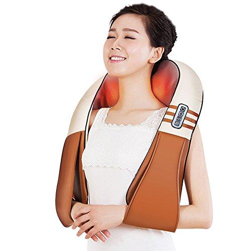 Shiatsu massaggiatore per collo spalle e schiena con calore – cervicale massaggio riscaldamento 3d cuscino massaggiante per collo, spalle, schiena, piedi & gambe – per casa, ufficio & auto