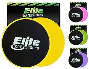 Elite Sportz core sliders per addominali formazione - gliders dischi fitness allenamento attrezzature per the pavimento - 2 dischi per allenamento (giallo)
