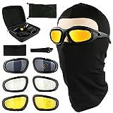 Tongshop Polarisierte Motorrad, Reiten UV400 Fahrrad Schutzbrille Augen Schutz Schwarz Rahmen mit 4 Paar Gläsern mit eine Sturmhaube Tactical Face Maske Outdoor Sports Motorrad Sonnenbrille