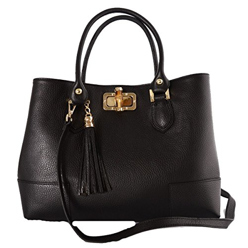 Borsa Per Donna A Mano Con Accessorio In Pelle Colore Nero - Pelletteria Toscana Made In Italy - Borsa Donna
