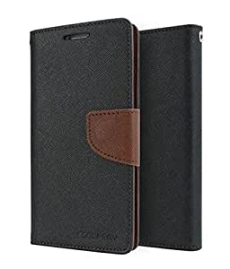 Sparkling Trends Mercury Goospery Fancy Diary Wallet Flip Cover Case for Micromax YU YUREKA AQ5510 Black Brown