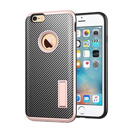 iPhone 6S Schutzhülle, Valenth Carbon-Faser-Hybrid-Gleitschutzgriff Ganzkörper-Schutz-Hülle mit Ständer für iPhone 6S 3#