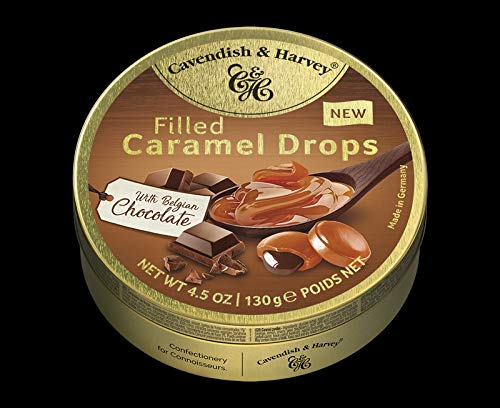 Cavendish & Harvey Drops Caramel Drops filled with Belgian Chocolate Karamell Bonbons gefüllt mit belgischer Schokolade Drops 130 g in Metalldose