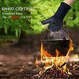 AngLink Grillhandschuhe, BBQ Handschuhe bis zu 800°C 1 Paar Rutschfeste Hitzebeständiger Handschuhe mit Silikon Ofenhandschuhe Topfhandschuhe Backhandschuhe für Grill Kochen Backen und Schweißen 33CM - 2