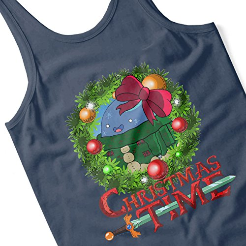 Adventure Christmas Time Wreath Bow Cartoon Network Women's Vest Navy blue
