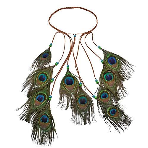(Damen-Haarband, Bohemien, Pfau, Hippie, Federn, Perlen, geflochten, indisch, aus Schnur, Kopfteil, Cosplay, Kostüm, style 3)