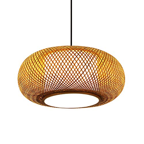CQLAN Retro Style Lantern Pendant Lamp, Bamboo Lampshade, Bedroom Living Room Ceiling Chandelier Teahouse Dining Room Bamboo Lamp Bar Cafe Club Single Head Hanging Lamp E27