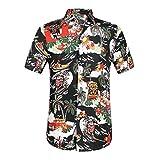 Mymyguoe Camisa Casual de Manga Corta con Botones abotonados en la Parte Superior de los Hombres Top de impresión Hawaiana para Hombre