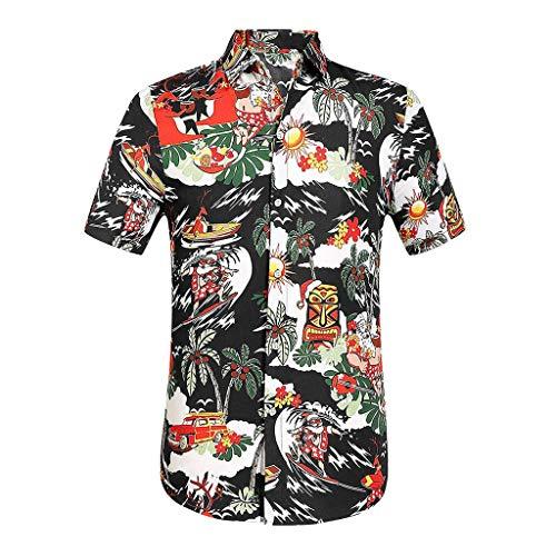 ecc110e33 Magiyard T-Shirt Chemise de Plage Chemise hawaïenne Tee Shirt Fashion  Hommes Décontractée Imprimé Bouton