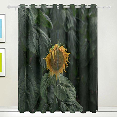 DEZIRO Sunflower Polyester Gardinen Panel/Drapes Fenster Vorhang, verdunkelnd,/Zimmer Verdunklung/wärmeisolierendem Sun Block 2Tüllen Elementen Set 8Pro Panel waschbar 213,4x 139,7cm -