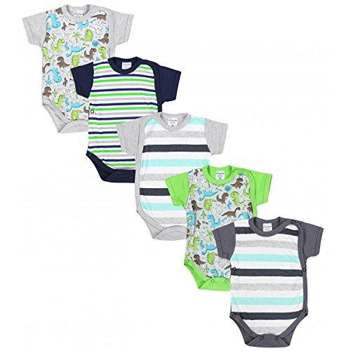 TupTam Baby Jungen Kurzarm Wickelbody Baumwolle 5er Set , Farbe: Farbenmix 3, Größe: 68