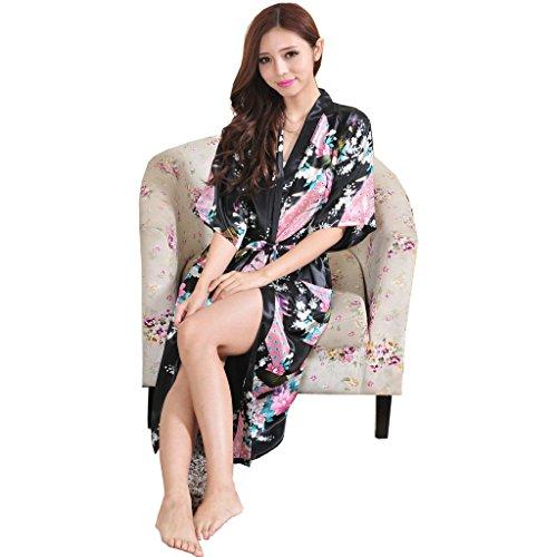 Honeystore Damen lange Kimonos für Damen Bademantel aus Satin mit Pfau und Blüten Morgenmantel Robe Schlafanzug Schwarz