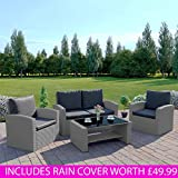 New Algarve Rattan Wicker Weave Garden Furniture INCLUDES OUTDOOR PROTECTIVE RAIN COVER Patio Conservatory Sofa Set (Solid Light Grey with Dark Cushions)