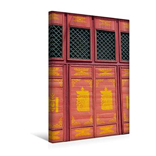 Premium Textil-Leinwand 30 cm x 45 cm hoch, Fenster im Kloster Gandantegchinlen   Wandbild, Bild auf Keilrahmen, Fertigbild auf echter Leinwand, Leinwanddruck: Ulan Bator, Mongolei (CALVENDO Orte)