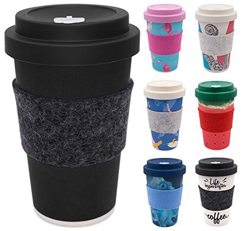 holi. Coffee-to-Go Bambus-Becher mit Schraubdeckel, Filz-Manschette | nachhaltiger Kaffeebecher mit Verschluss | Mehrweg-Becher Bamboo-Cup | Woodcup spülmaschinenfest (All Black)