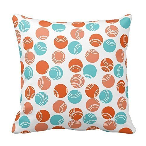 Personalized 18X18 Inch Square Cotton Pillows Coral Orange, Teal, Turquoise, Retro Polka Dots Pillows Pillow sham Covers (Coral-bett-satz)