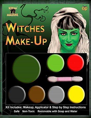 Neu Hexen Gesichtsfarbe Damen Mädchen Make-Up Zombie Vampir Hexe Teufel Grün Rot Gelb Schwarz (Teufel Rote Make-up)