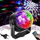 Discokugel, otumixx LED Partylicht Soundkontrolle 3W Discolicht Disco Lichteffekte 7 Farbe RGB 360° Drehbares Party Lampe mit Fernbedienung für Kinder Geburtstag Hochzeit Karaoke Club Weihnach