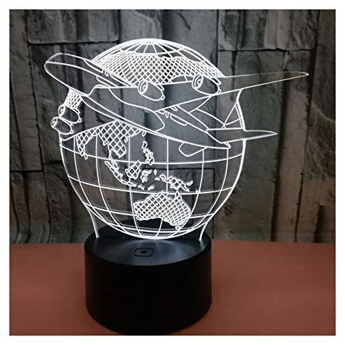 FXQ Luz de la Noche en 3D Creative Air Plane Earth - 7...