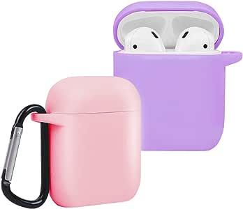 CEEPUY Coque Airpods, 2 Paquet Housses en Silicone Compatible pour AirPods 1&2 Case Cover,Étuis en Protection Antichoc[Face Avant Visible],Rose/Mauve