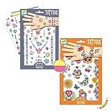 Djeco Tattoo Set für Coole Mädchen/Kindertattoo / Tattoo Set Buntes Design für Kinder ab 3 Jahre/Spielen