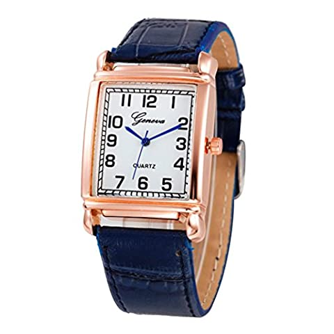 Watch, Manadlian Women Casual Checkers Faux Leather Quartz Analog Wrist Watch (Blue)