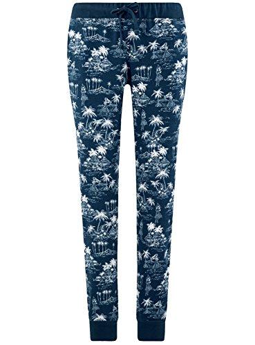 oodji Ultra Donna Pantaloni in Maglia con Coulisse Blu (7930G)